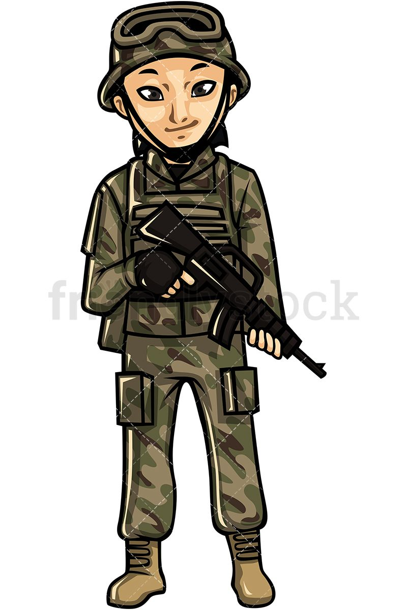 Woman cartoon vector assault. Asian clipart soldier
