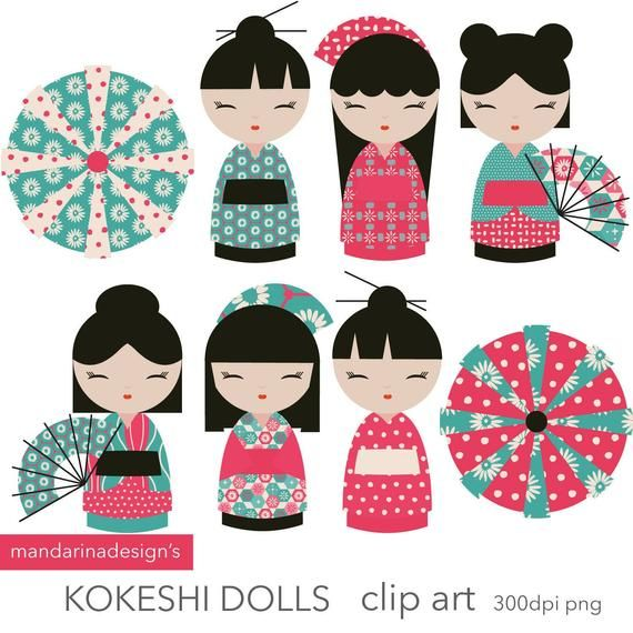 Kokeshi dolls japanese china. Doll clipart doll chinese
