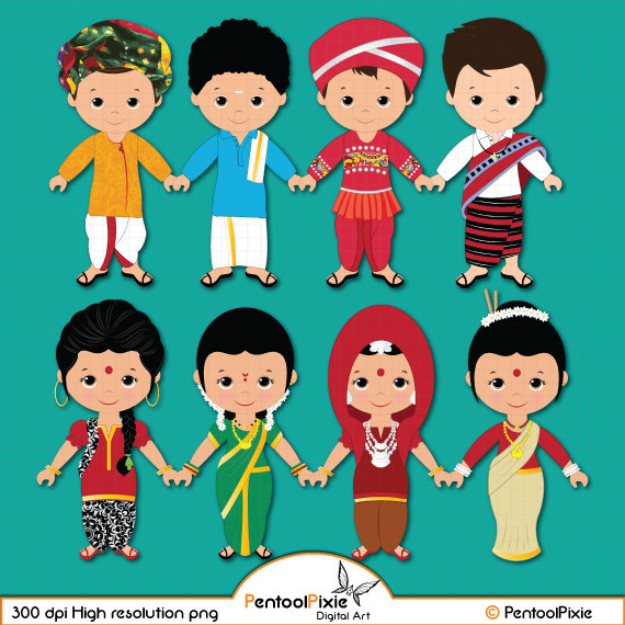 Children of india unity. Asian clipart toddler