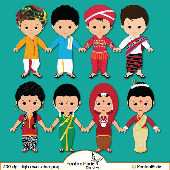 Asian clipart toddler. Children of india unity