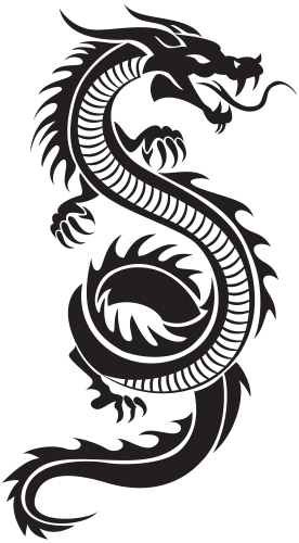 Chinese dragon silhouette png. Fireball clipart tattoo