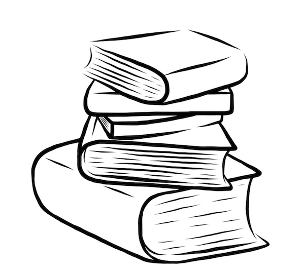 Assessment clipart black and white. Stacked books drawing at