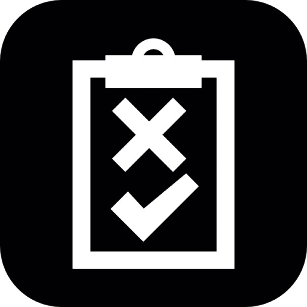 With signs of cross. Assessment clipart clipboard