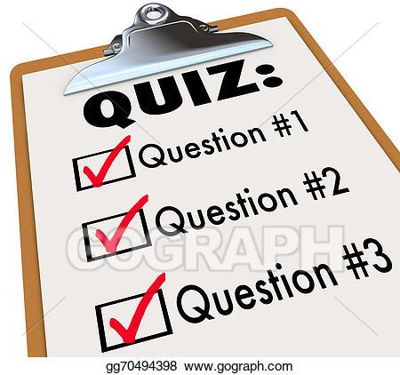 Stock illustration quiz word. Clipboard clipart exam