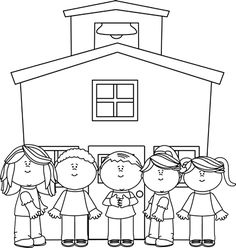 Black and white preschool. Bag clipart outline school