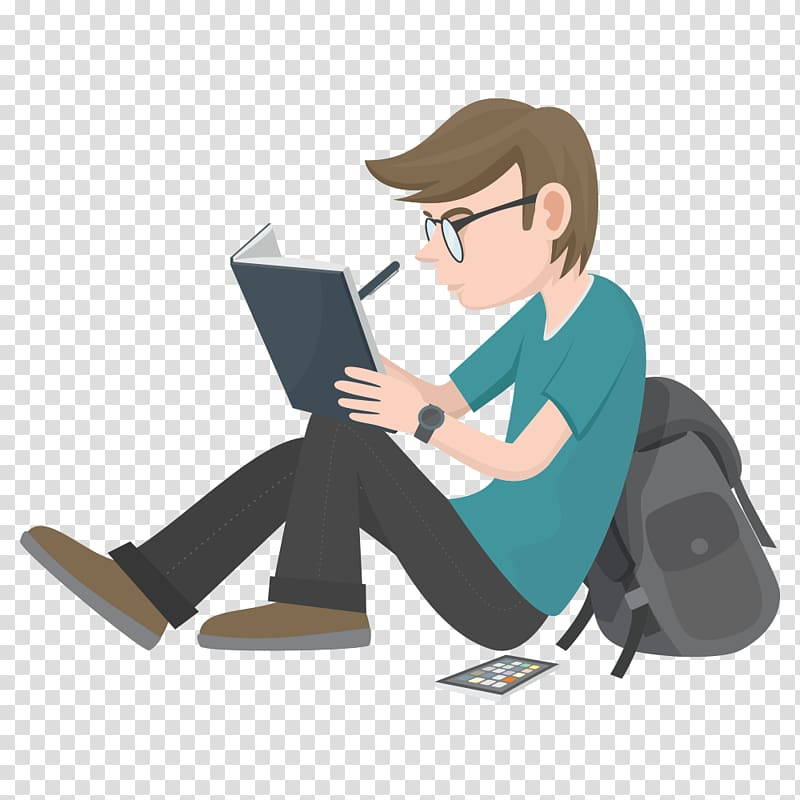 Man writing on book. Test clipart write