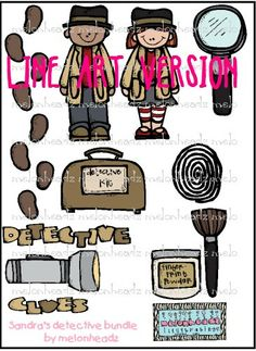 Briefcase clipart detective. Bundle from tongassteacher on