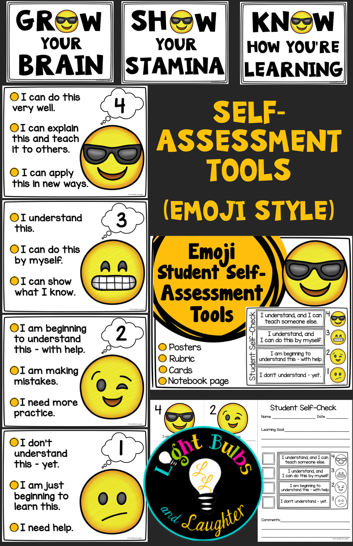 Emoji self tools posters. Assessment clipart student thinking