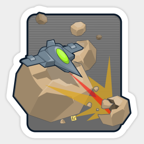 Asteroid clipart 8 bit. Asteroids stickers teepublic related