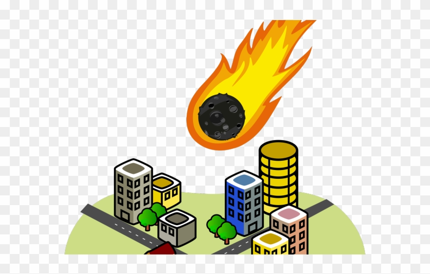 Fireball office building clip. Asteroid clipart asteriod