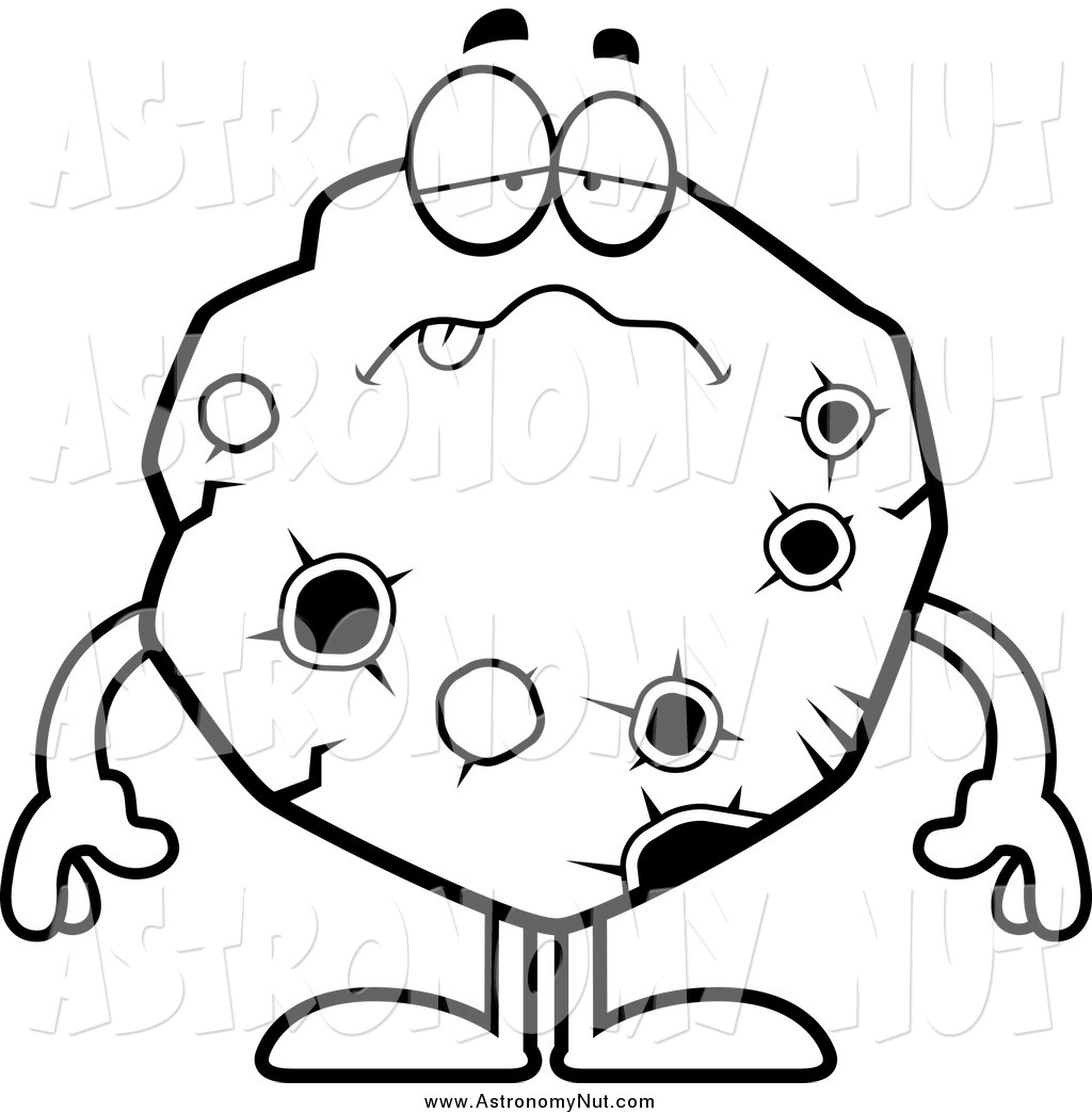 Asteroid clipart black and white. Of a sick character