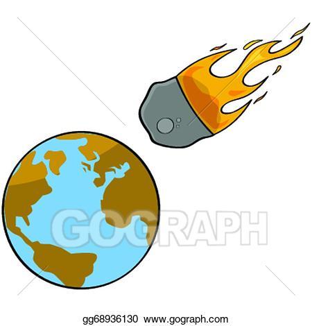 Eps illustration collision vector. Asteroid clipart cartoon