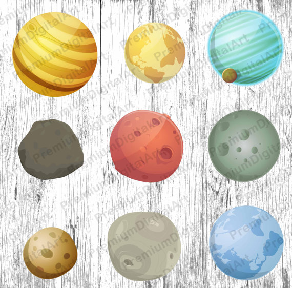 planets moon satellite. Asteroid clipart comet star