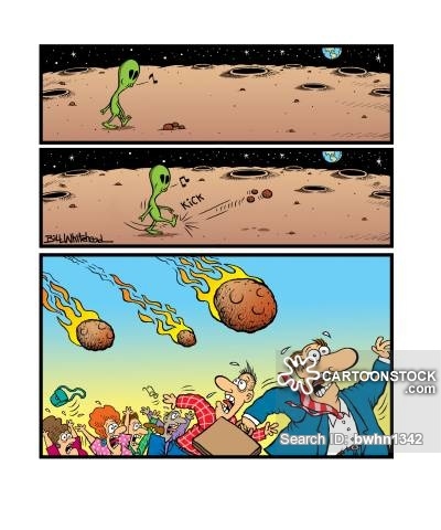 Meteor shower cartoons and. Asteroid clipart comic