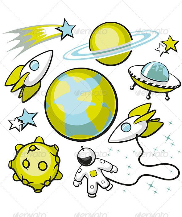 Asteroid clipart cute. Set of space objects