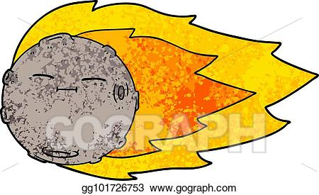 Vector art cartoon meteorite. Asteroid clipart cute