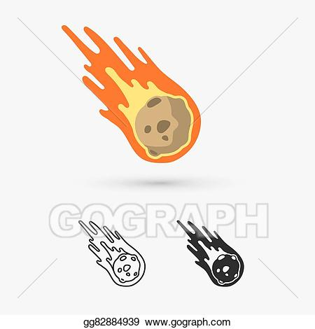 Vector art flame meteorite. Asteroid clipart draw