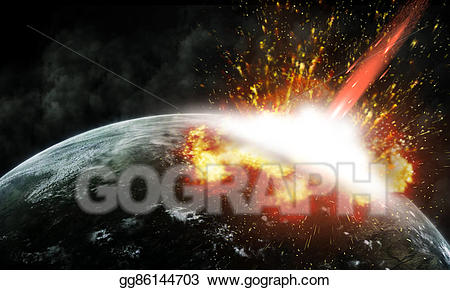 Asteroid clipart fire. Drawing collision of an