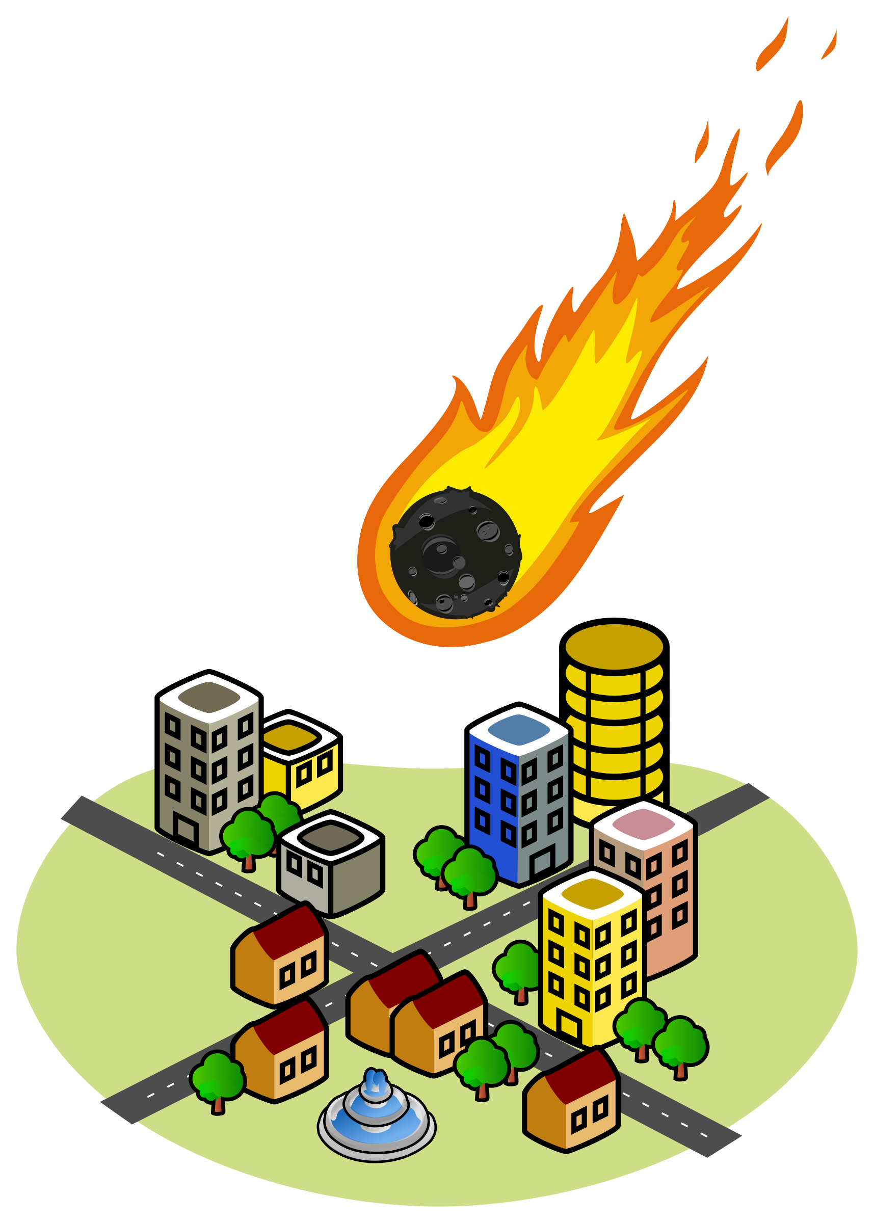 And the city big. Asteroid clipart fire