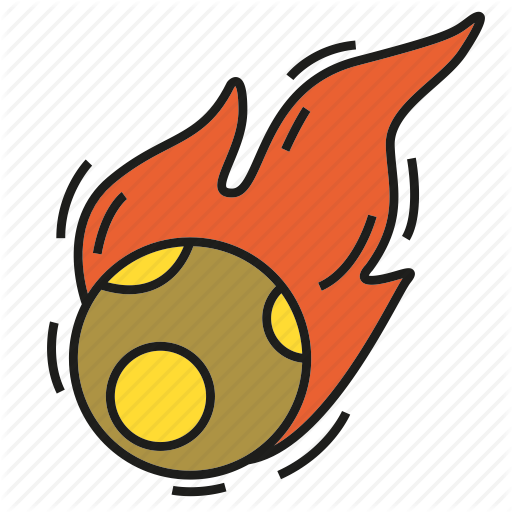 Disaster by design catastrophe. Asteroid clipart fire