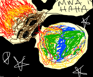 Asteroid clipart fire. Evil sets to the