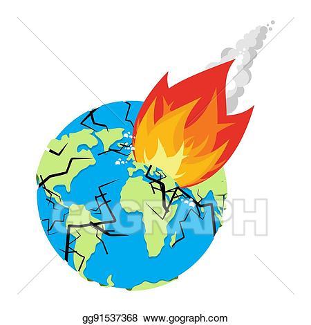 Vector illustration meteorite crashing. Asteroid clipart fire