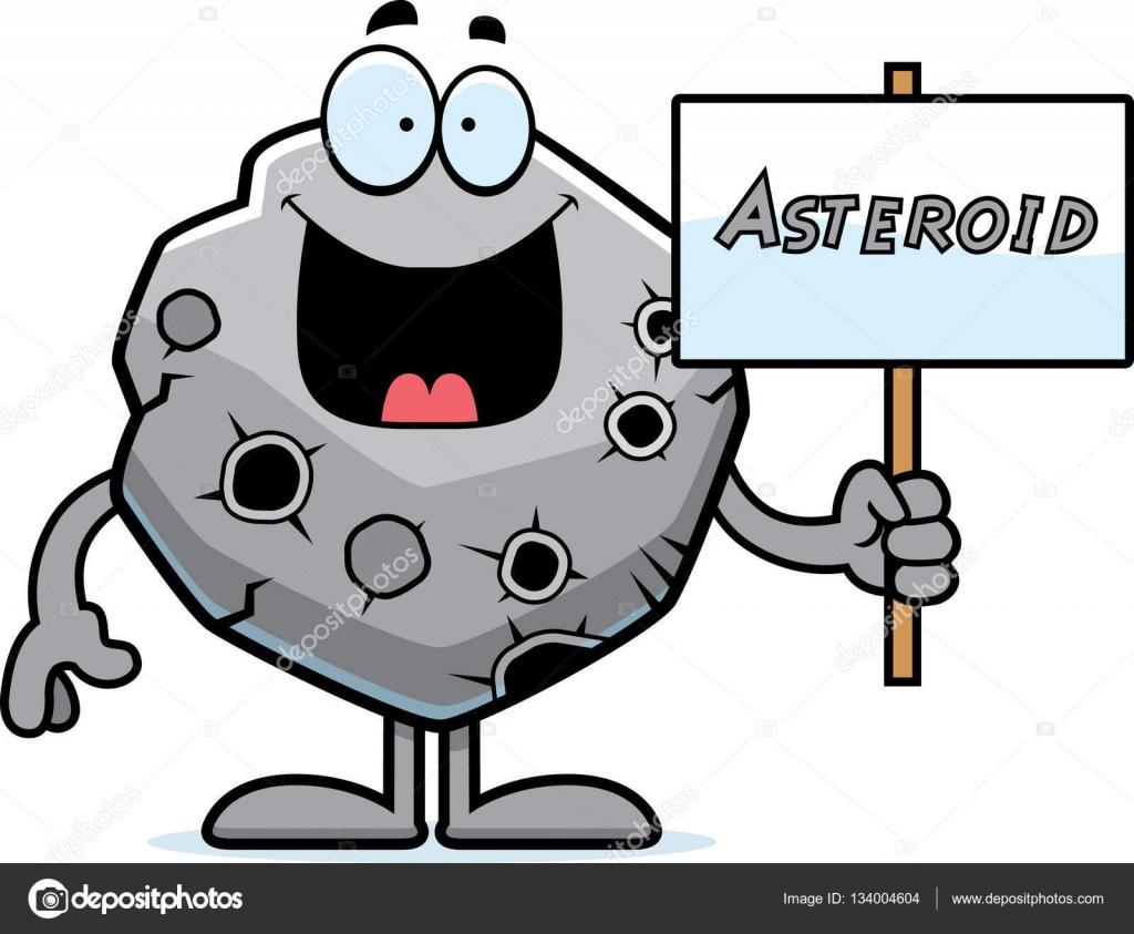 Cartoon sign stock vector. Asteroid clipart illustration