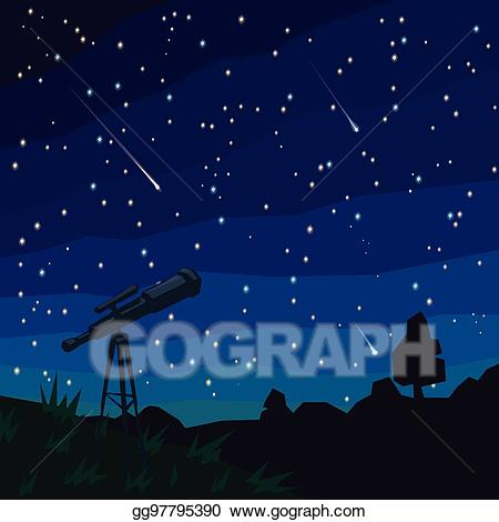 Asteroid clipart meteor shower. Eps illustration stargazing falling