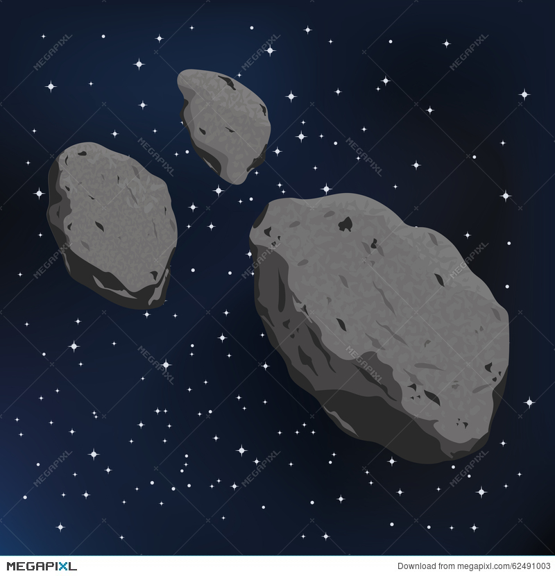 Vector illustration of an. Asteroid clipart metor