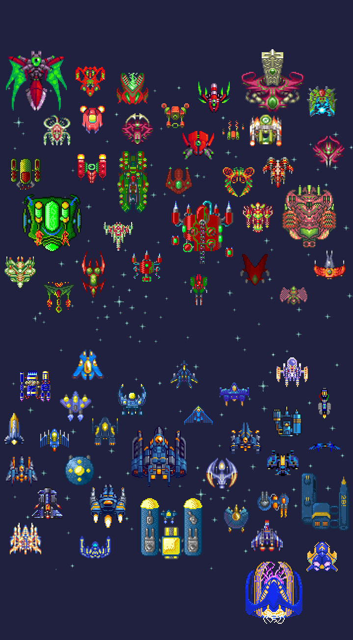 Spaceships by pixel pax. Asteroid clipart pixelated