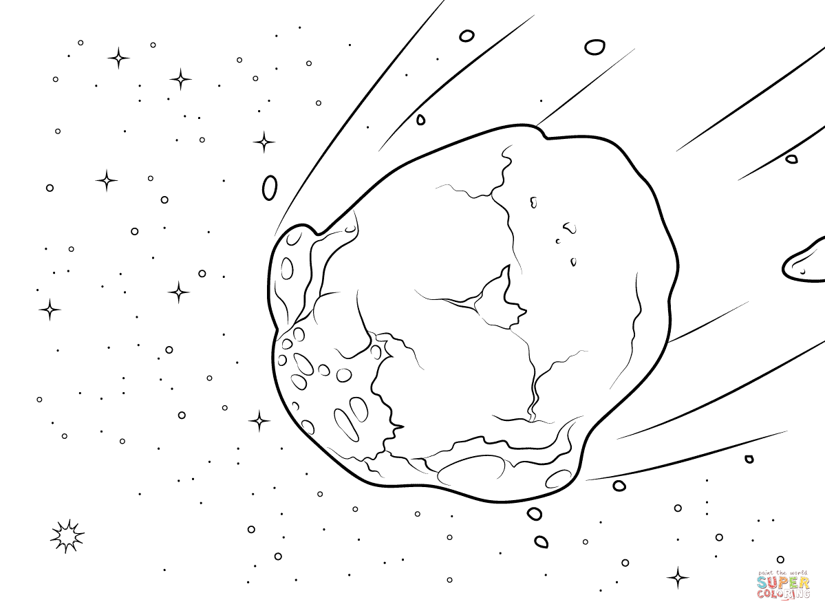 Watery coloring page free. Asteroid clipart printable