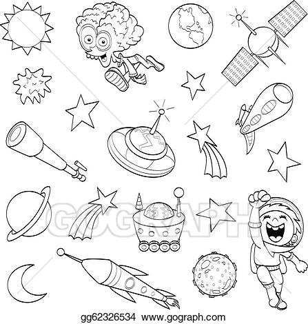 Vector art cartoon outer. Asteroid clipart sketch