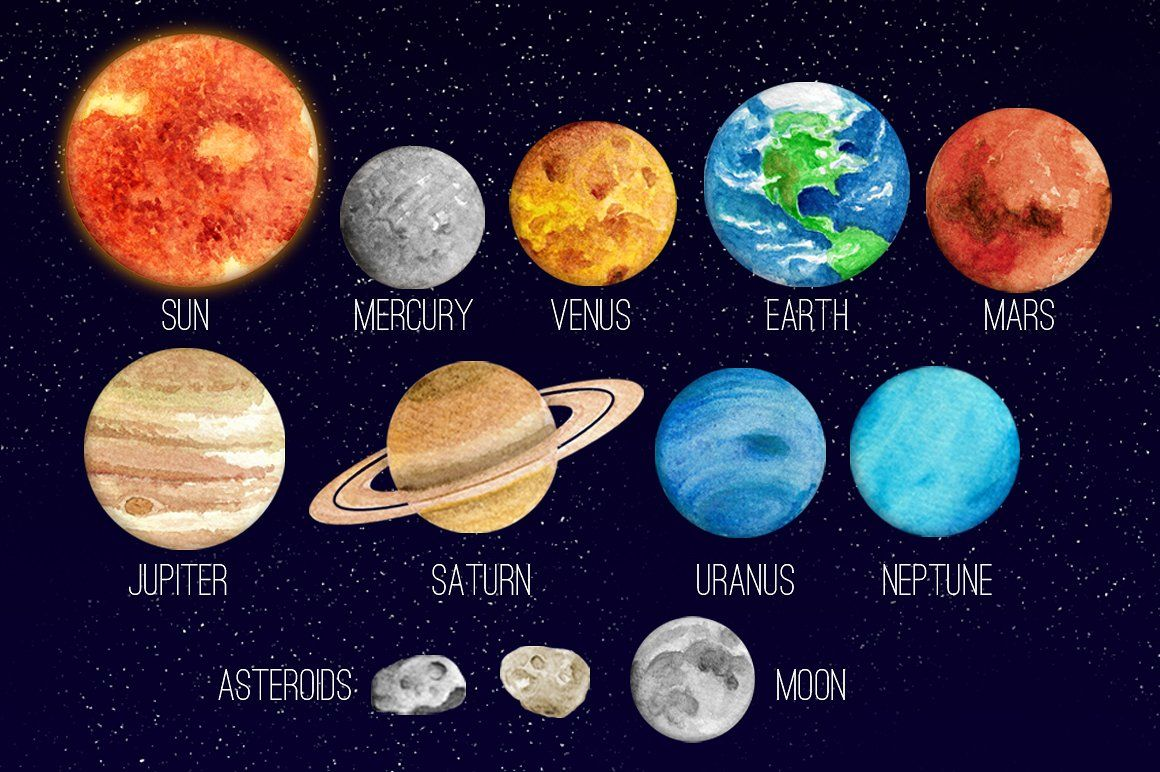 Asteroid clipart solar system space. Watercolor clip art and