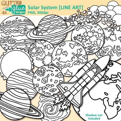 Digi stamps teacher clip. Asteroid clipart solar system space