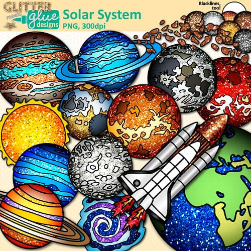 Asteroid clipart solar system space. Teacher clip art glitter