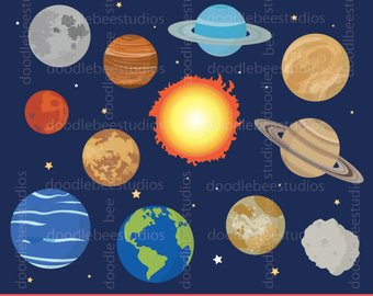 Asteroid clipart solar system space. Outer watercolor planet planets