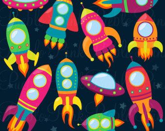Asteroid clipart spaceship. Etsy retro rockets clip