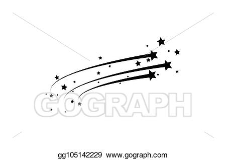 Vector abstract falling star. Asteroid clipart white background