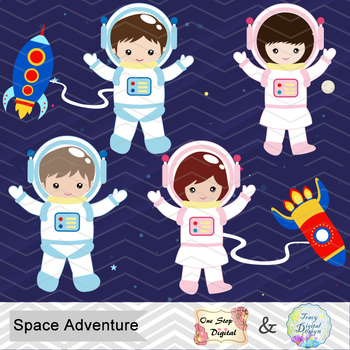 Digital clip art space. Astronaut clipart