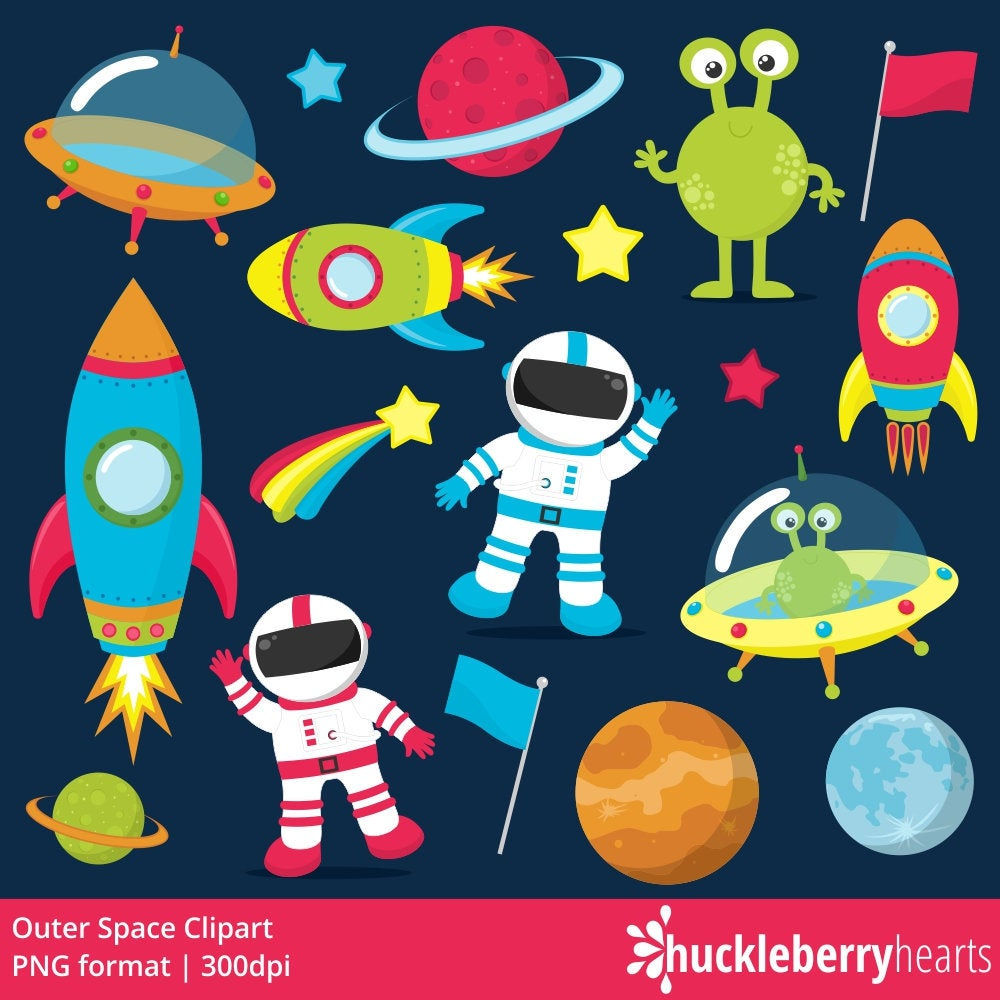 Astronaut clipart. Outer space rocket ship