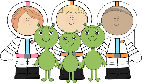 Aliens and astronauts clip. Alien clipart outer space