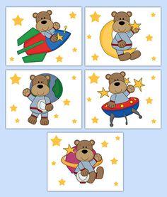 Outer space nursery prints. Astronaut clipart bear