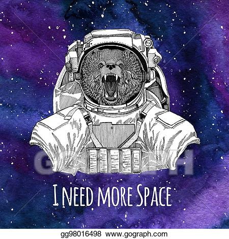 Astronaut clipart bear. Drawing animal brown russian