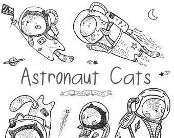 Kitten clip art etsy. Astronaut clipart cat