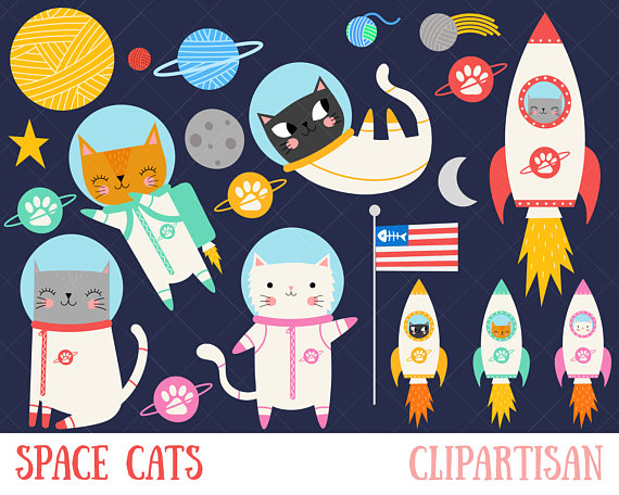 Astronaut clipart cat. Space kitten and yarn