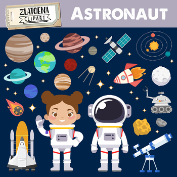 Astronaut outer space graphics. Clipart rocket galaxy