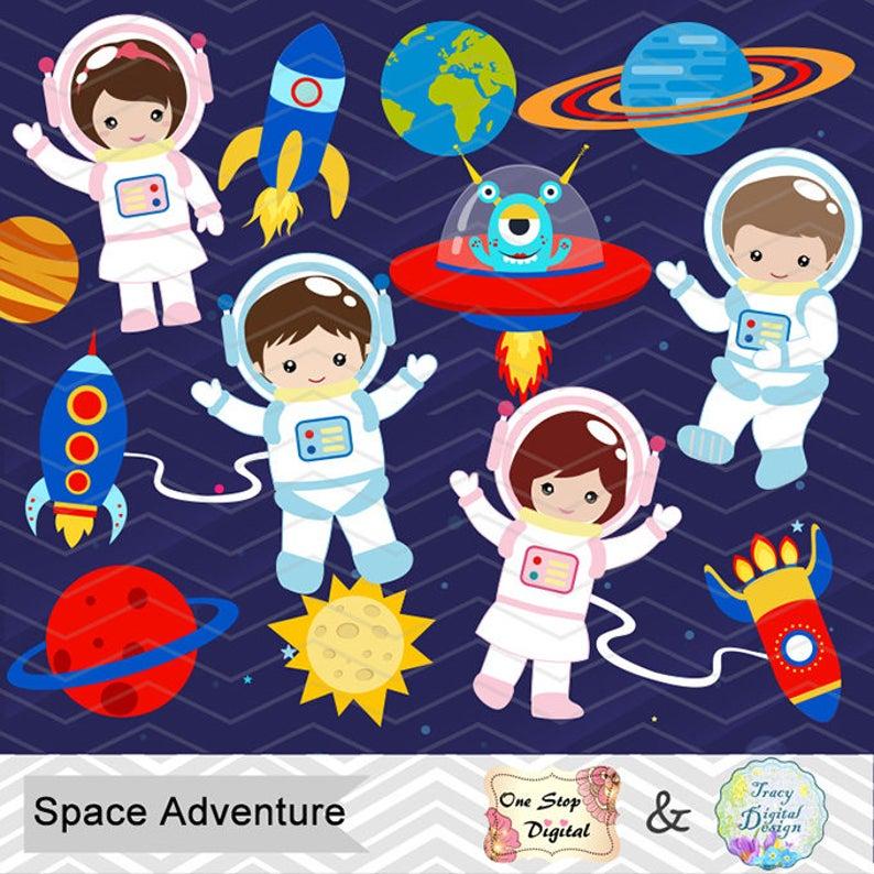 Astronaut clipart clip art. Instant download digital space