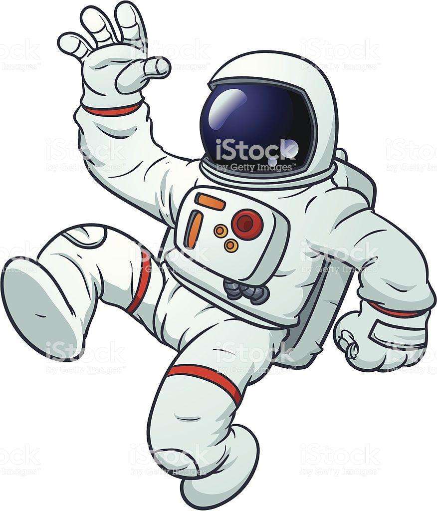 Astronaut clipart comic. Cartoon floating vector illustration