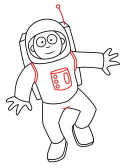 Drawing a cartoon. Astronaut clipart easy