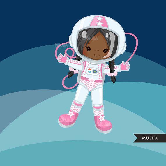 Girl graphics space rocket. Astronaut clipart little